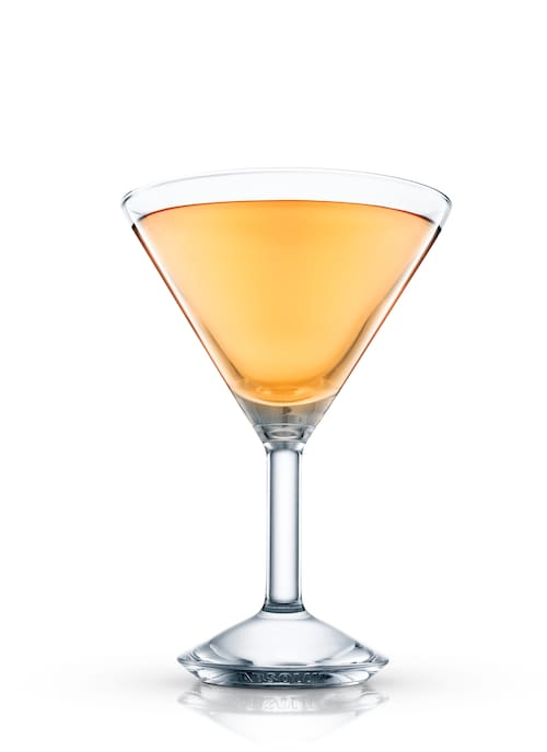 ruby apricot martini against white background