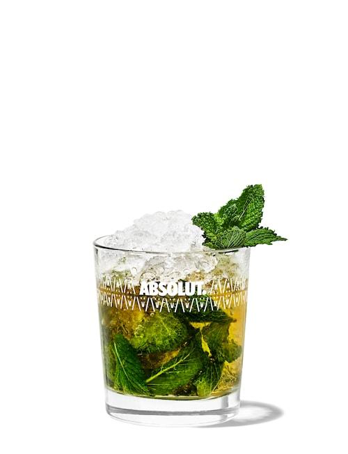 mint julep against white background