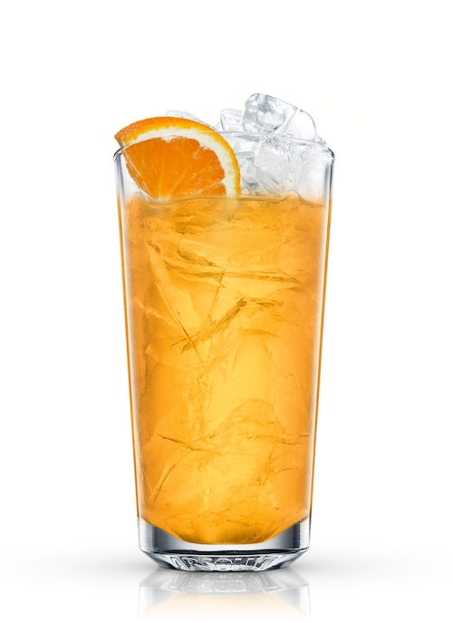 orange and earl grey iced tea against white background