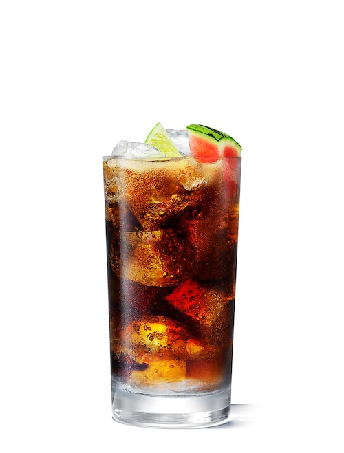 absolut watermelon and coke against white background