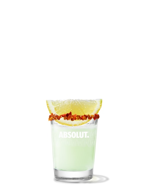 absolut peppar drop against white background