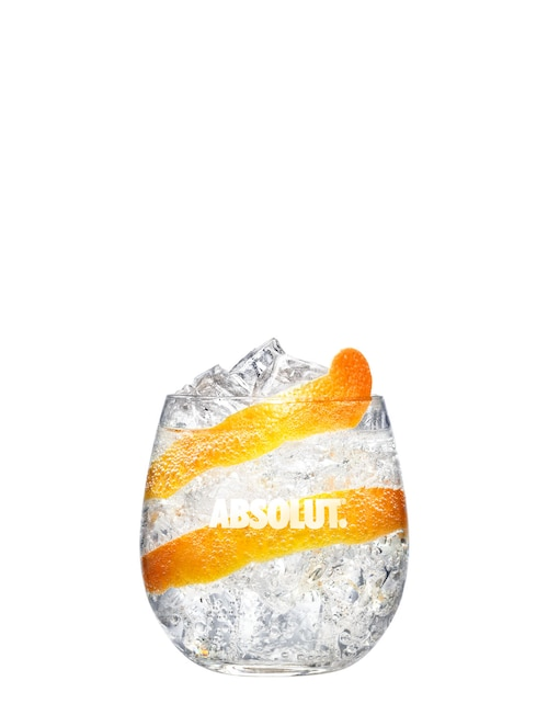 absolut twist and soda against white background