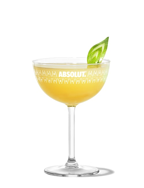 absolut pears martini against white background