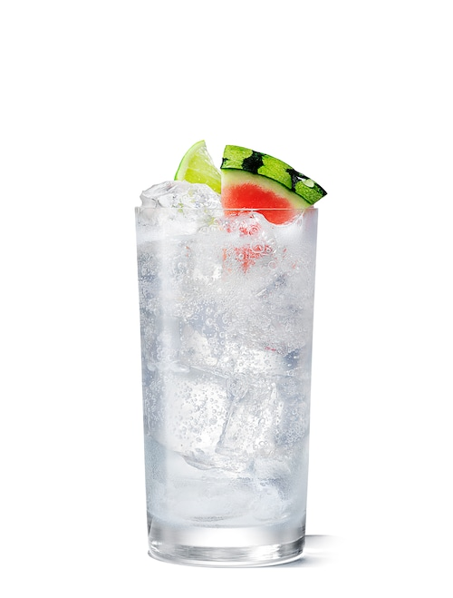 absolut watermelon and lemon-lime soda against white background