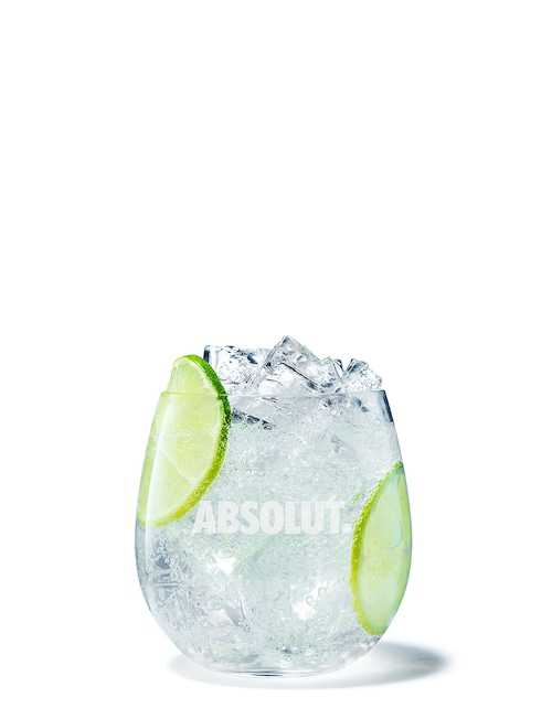 vodka soda against white background