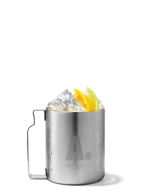 absolut mandrin mule against white background