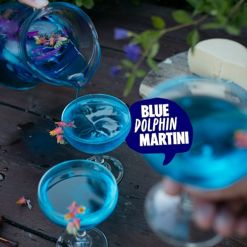 blue dolphin martini in environment
