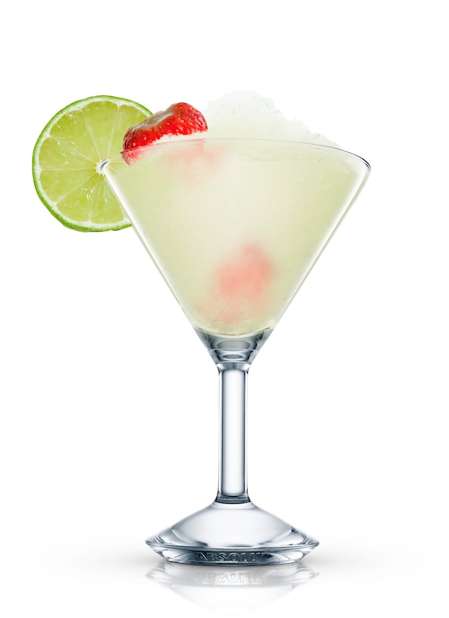 virgin strawberry daiquiri against white background