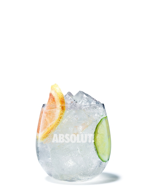 absolut rubyred soda against white background