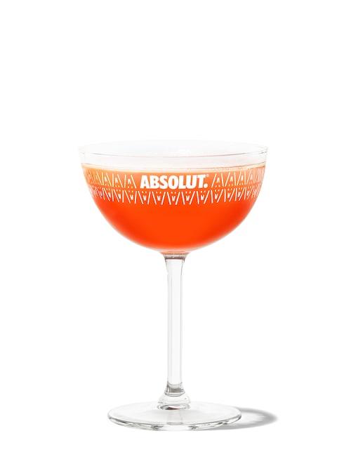 blood orange cosmo against white background