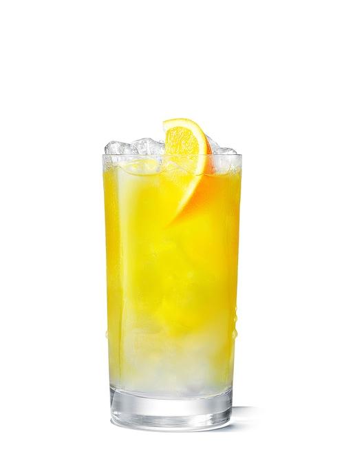 absolut orange juice against white background