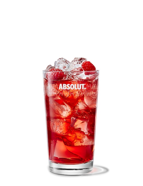 absolut raspberri with cranberry juice against white background