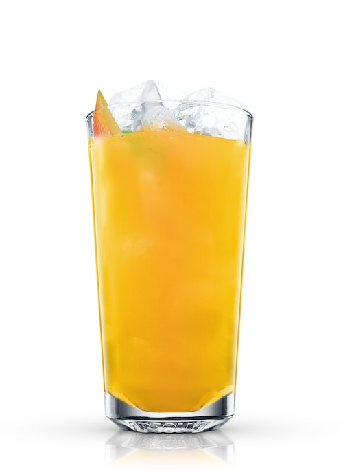green tea and mango splash against white background