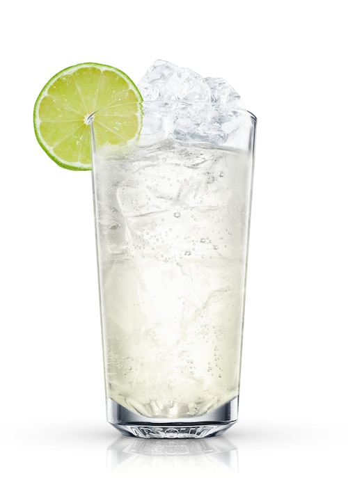 gin rickey against white background