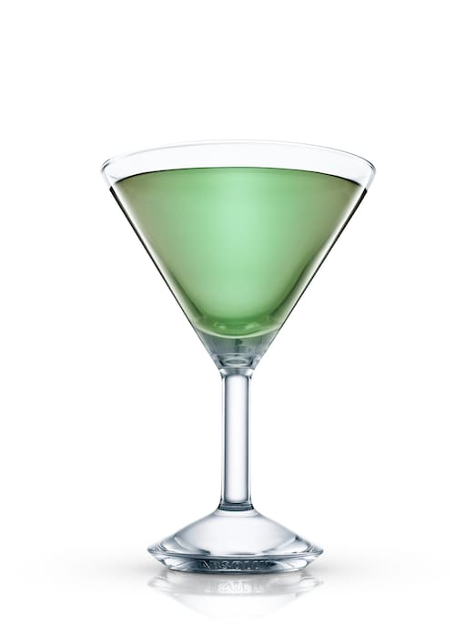 mint scotch cocktail against white background