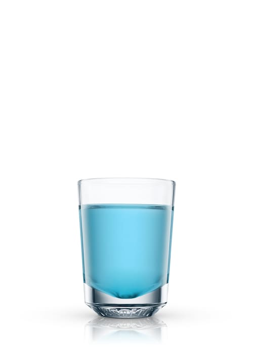 flaming blue bahoona shooter against white background