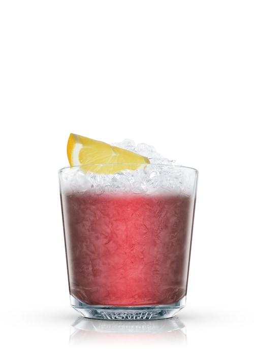 frozen blackberry tequila against white background