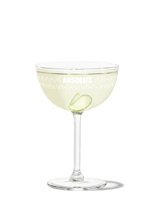 100 cucumber infused martini against white background