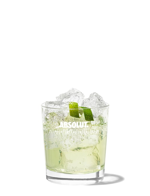 absolut citron gimlet against white background