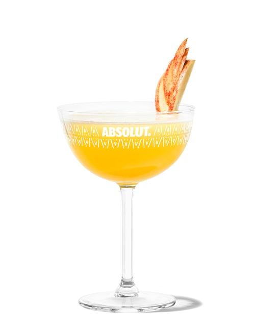 apple martini against white background