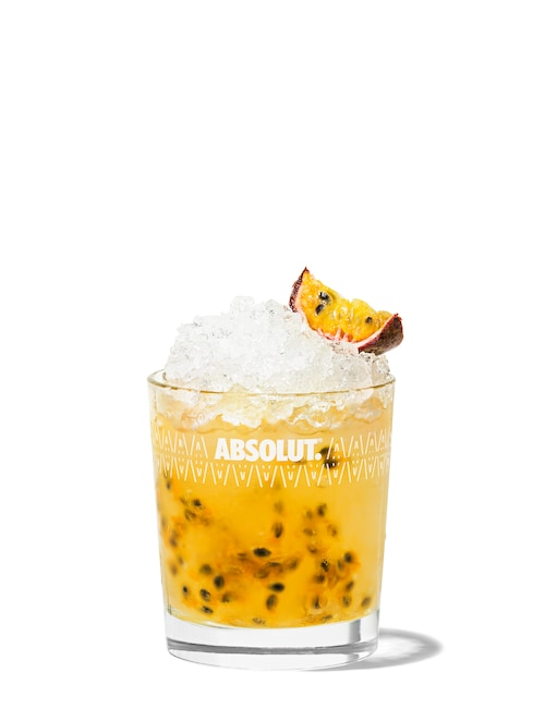 absolut passion fruit against white background