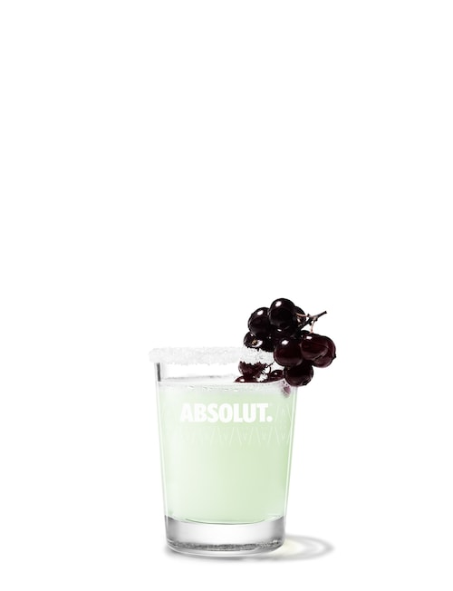 absolut kurant drop against white background