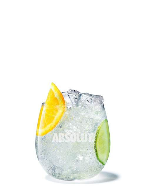 absolut mandrin soda against white background