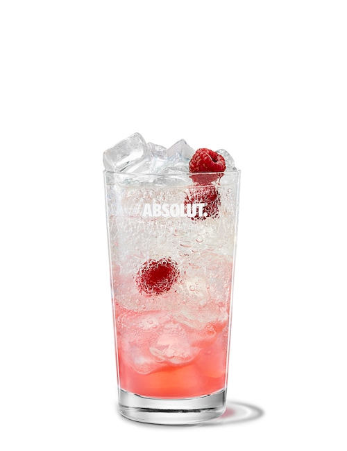 raspberry collins against white background