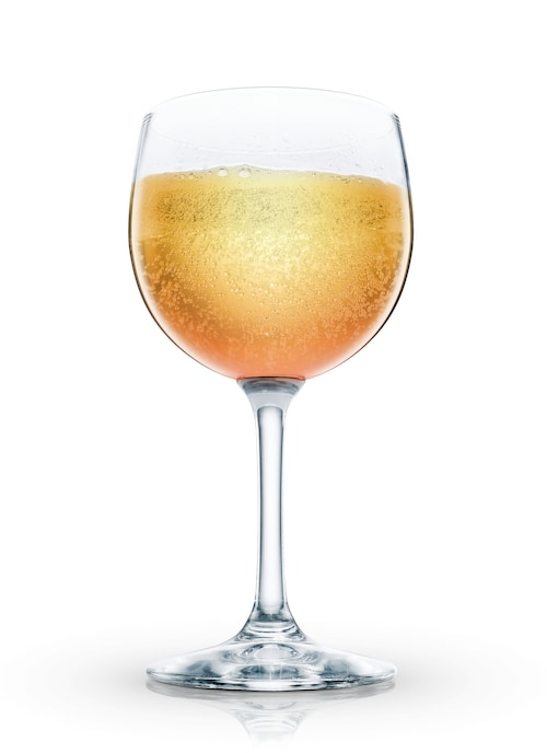 absolut peach bellini against white background