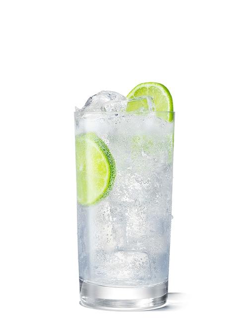 absolut fizzy lemon lime soda against white background
