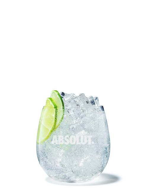 absolut lime soda against white background