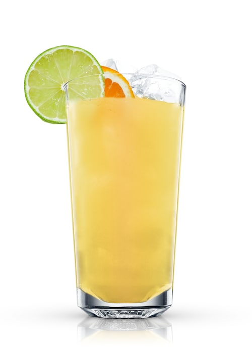 citrus rum cooler against white background