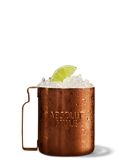 absolut juice apple mule  against white background