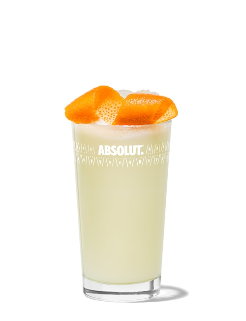 ramos gin fizz against white background
