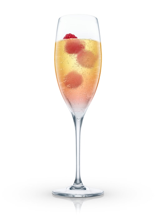 raspberry bellini against white background