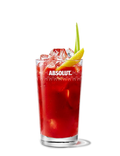 absolut peppar bloody mary against white background