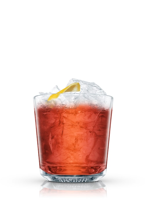 brandy cocktail against white background