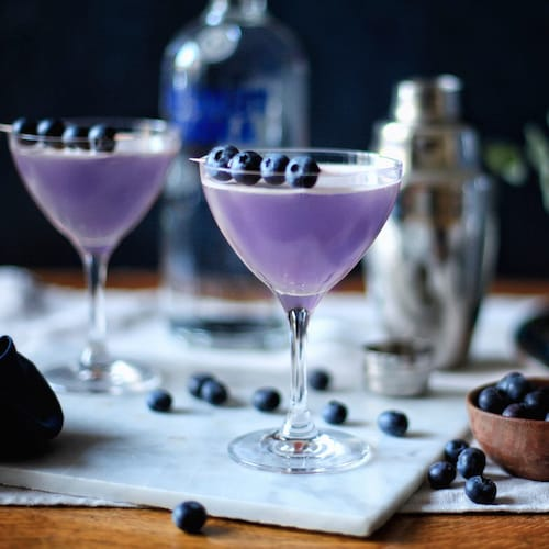 blue raspberry martini in environment