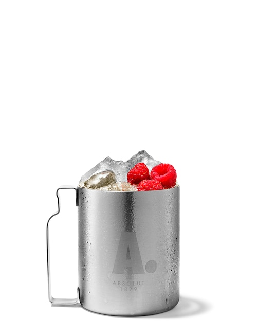absolut raspberri mule against white background