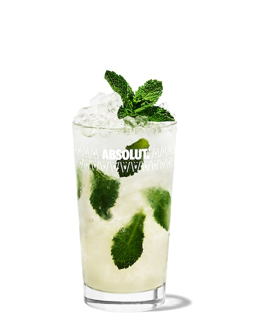 vodka mojito against white background