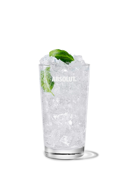 absolut citron with tonic against white background